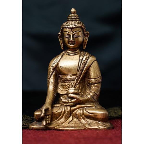 仏像 仏陀 神様像 ブラス 12cm インド 置物 エスニック アジア 雑貨