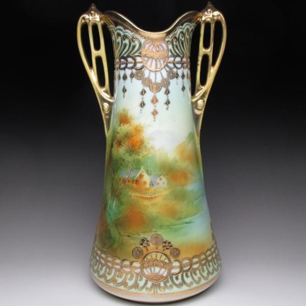 オールドノリタケ 金盛り湖畔風景絵 花瓶 壺 32cm tirunhausu
