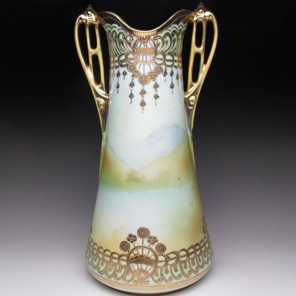 オールドノリタケ 金盛り湖畔風景絵 花瓶 壺 32cm tirunhausu 04