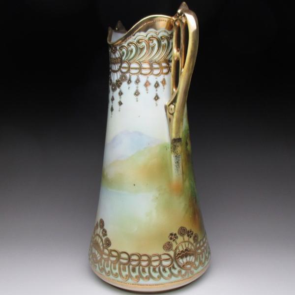 オールドノリタケ 金盛り湖畔風景絵 花瓶 壺 32cm tirunhausu 05