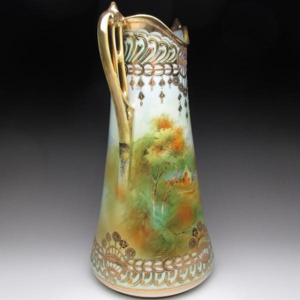 オールドノリタケ 金盛り湖畔風景絵 花瓶 壺 32cm tirunhausu 06