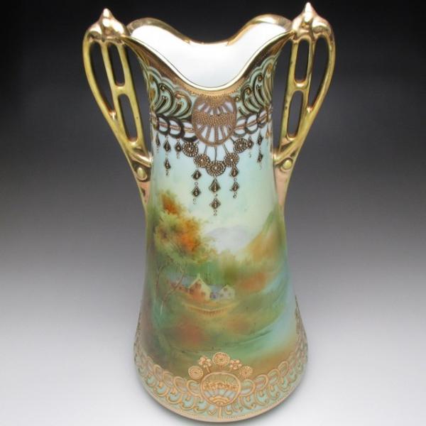 オールドノリタケ 金盛り湖畔風景絵 花瓶 壺 32cm tirunhausu 07