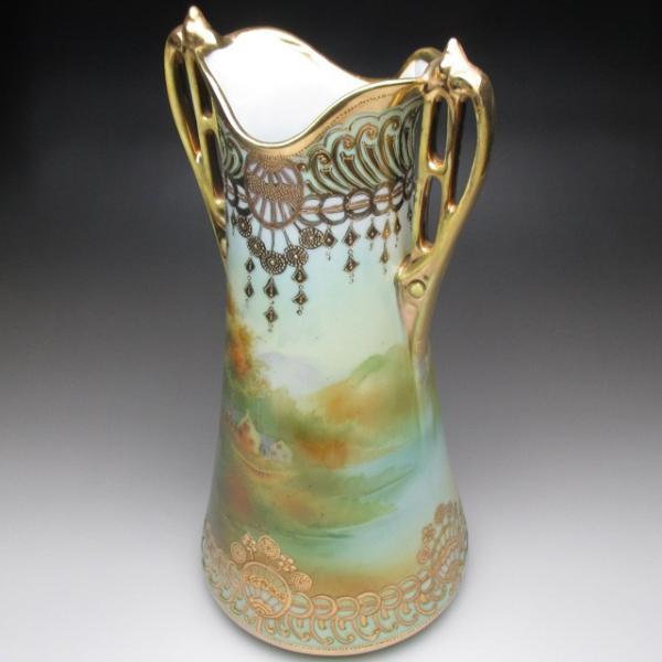 オールドノリタケ 金盛り湖畔風景絵 花瓶 壺 32cm tirunhausu 08