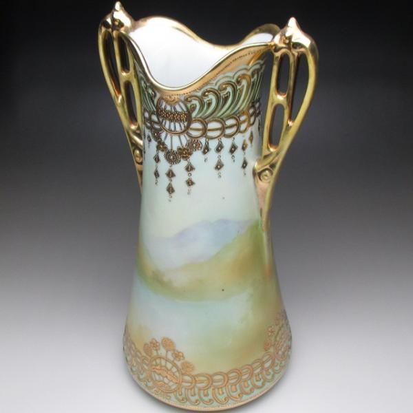 オールドノリタケ 金盛り湖畔風景絵 花瓶 壺 32cm tirunhausu 09
