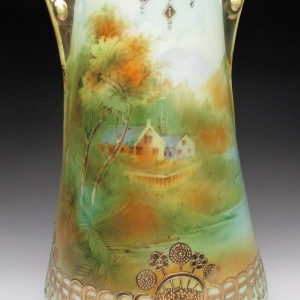 オールドノリタケ 金盛り湖畔風景絵 花瓶 壺 32cm tirunhausu 10