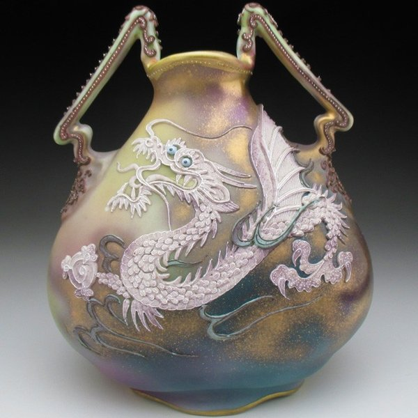オールドノリタケ ドラゴン盛り上げ 花瓶|tirunhausu
