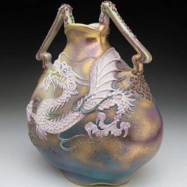 オールドノリタケ ドラゴン盛り上げ 花瓶|tirunhausu|02