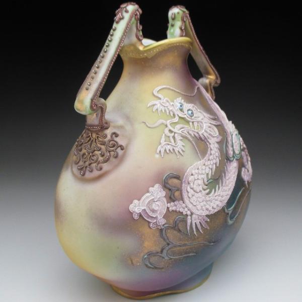 オールドノリタケ ドラゴン盛り上げ 花瓶|tirunhausu|08