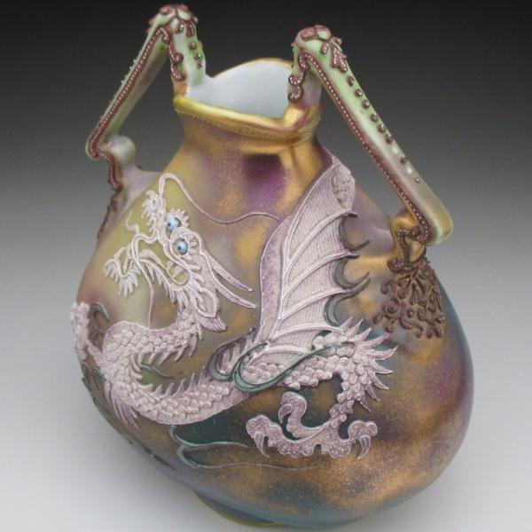 オールドノリタケ ドラゴン盛り上げ 花瓶|tirunhausu|10