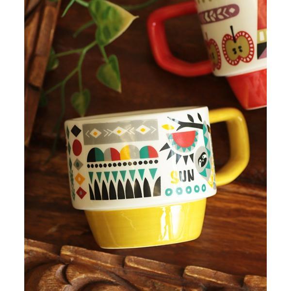 マグカップ マグ カップ コップ 食器 陶器 インテリア スタッキング カラフル 秋 冬 夏 春 エスニック かわいい 大きめ イニシャルスタッキングマグ ziwcb2304 titicaca-y 11