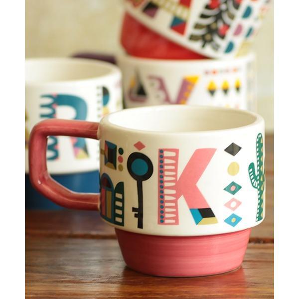 マグカップ マグ カップ コップ 食器 陶器 インテリア スタッキング カラフル 秋 冬 夏 春 エスニック かわいい 大きめ イニシャルスタッキングマグ ziwcb2304 titicaca-y 04