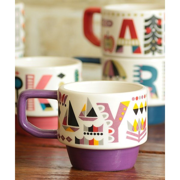 マグカップ マグ カップ コップ 食器 陶器 インテリア スタッキング カラフル 秋 冬 夏 春 エスニック かわいい 大きめ イニシャルスタッキングマグ ziwcb2304 titicaca-y 06