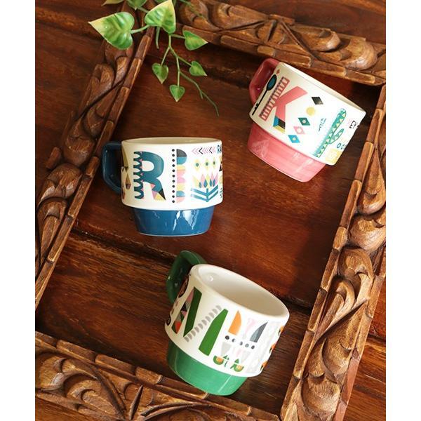 マグカップ マグ カップ コップ 食器 陶器 インテリア スタッキング カラフル 秋 冬 夏 春 エスニック かわいい 大きめ イニシャルスタッキングマグ ziwcb2304 titicaca-y 09
