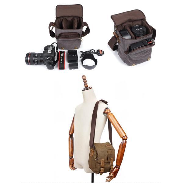 一眼レフ カメラバッグ ショルダー  レンズ収納 マチ拡張 おしゃれ 帆布 カジュアル 斜めかけ ショルダーバッグ 撥水加工 メンズ 人気