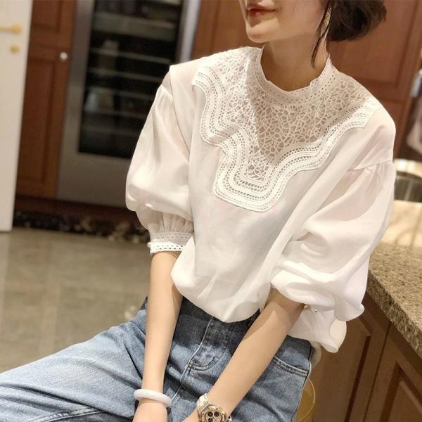 ブラウスレディース40代秋 オシャレブラウス白Tシャツ長袖トップス白レースブラウスパフスリーブ大人上品韓国風大きいサイズシャツ3