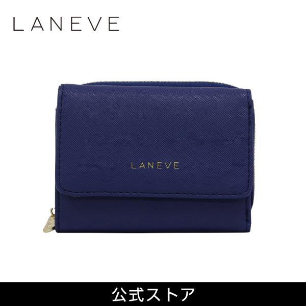 LANEVE ランイブ レディース  3つ折り財布 L56802 NV ネイビー 紺 (169010) tn-square