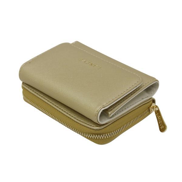 LANEVE ランイブ レディース  3つ折り財布 L56802 GL ゴールド 金 (169012)|tn-square|03
