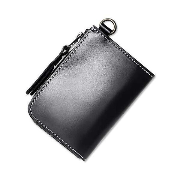 STCRAFTL字ファスナーコンパクト財布本革ミニマリスト共に育つイタリンレザーメンズレディースYKK使用(Black)