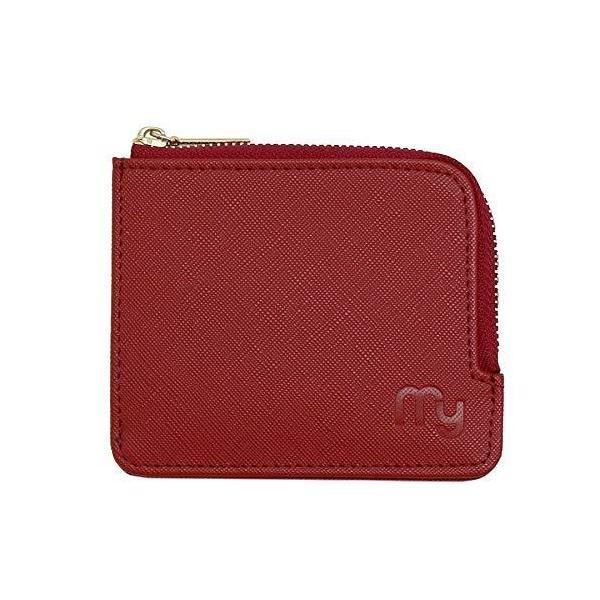 ミニ財布小銭入れコインケースレディースコンパクト財布薄いL字ファスナー(レッド)