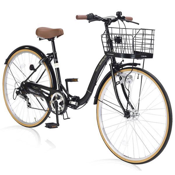 池商折畳自転車シティサイクル26インチ6段変速ライト/かご/リング錠付きブラックM-509PRINTEMPS(BK)