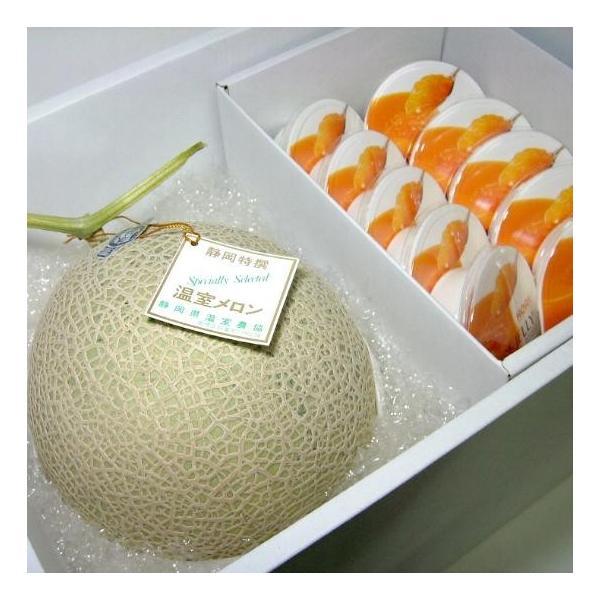 フルーツセット アールスメロン 約1.5kg・北海道 夕張メロン ピュアゼリー10個入りセット 化粧箱|サマーギフト プレゼント 父の日