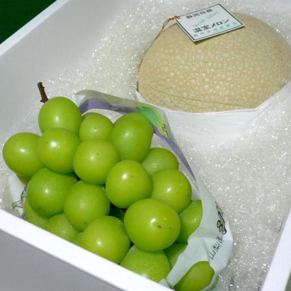 静岡温室マスクメロン約1.5kg白級&シャインマスカットぶどう約800g セット 化粧箱|お中元 敬老の日 高級セット アールスメロン 葡萄 ブドウ