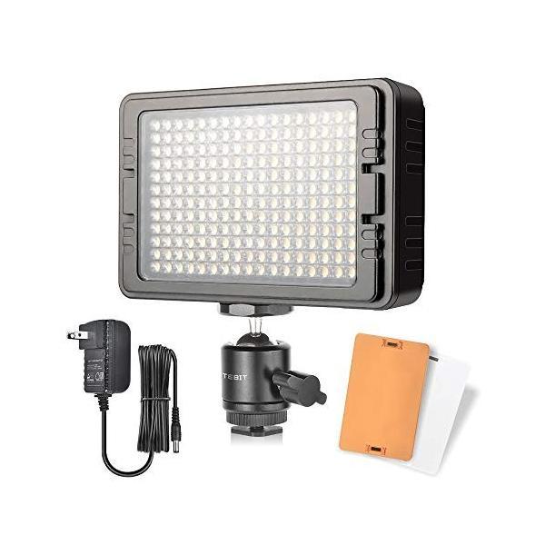 UTEBIT ビデオ ライト LED 204球 高輝度 コード長3.9m 照明 撮影 1440ルーメン 定常光ライト 撮影ライト 3200K/5600K 可調