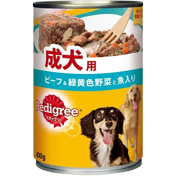<title>ペディグリー 成犬用 ビーフ 緑黄色野菜と魚入り 400g 数量は多</title>