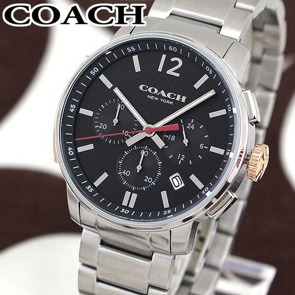 dc5122b08980 COACH コーチ クロノグラフ 14602009 海外モデル ブリーカー アナログ メンズ 腕時計 ウォッチ 黒 ブラック 銀 シルバー