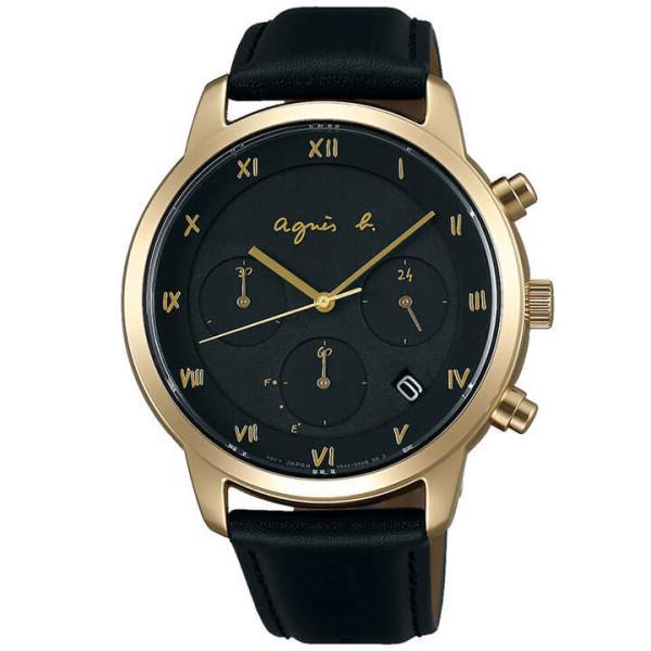 agnesb. アニエスベー SEIKO セイコー メンズ レディース 腕時計 14日まで最大27倍 国内正規品 ブラック 革ベルト レザー