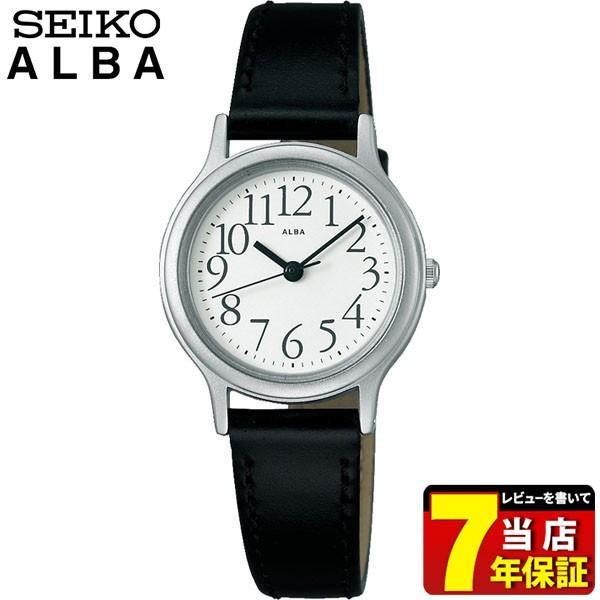 ポイント最大19倍 SEIKO セイコー ALBA アルバ AQHN402 国内正規品 レディース レディス ペア 腕時計 シルバー 黒 ブラック 革バンド レザー
