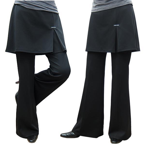 スカート付きパンツ厚地ストレッチスカート丈おしり隠す40cmブーツカット美脚フィットネススカート長めスカート丈が長い
