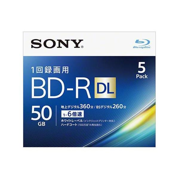 ソニー 5BNR2VJPS6 録画・録音用 BD-R DL 50GB 一回(追記)録画 プリンタブル 2倍速 5枚
