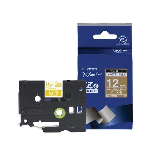 ブラザー TZe-MQ835 ピータッチ おしゃれテープ 白文字/サテンゴールド(つや消し) 12mm