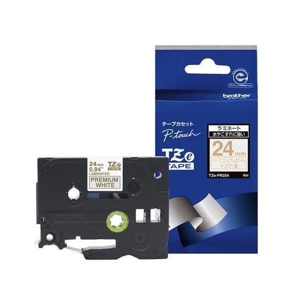ブラザー TZe-PR254 ピータッチ おしゃれテープ 金文字/プレミアムホワイト 24mm