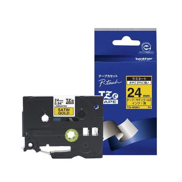 ブラザー TZe-MQ851 ピータッチ おしゃれテープ 黒文字/サテンゴールド(つや消し) 24mm