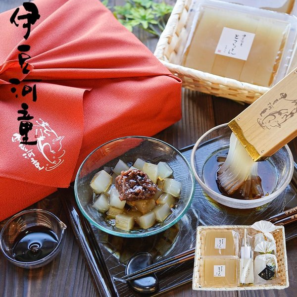 ところてん あんみつ 2個 セット 特製ミニ突き棒付 柿田川名水 伊豆河童 送料無料 プレゼント 贈りもの 食べ物 asu