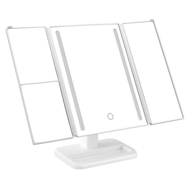 2倍&3倍拡大鏡 卓上ミラー 50灯LEDライト三面鏡 LED メイク 化粧台 乾電池 USB対応 送料無料 /50灯LEDライト三面鏡|toku109shop|06