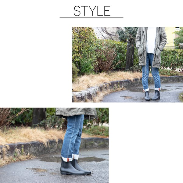 レインブーツ サイドゴア 防水 長靴 ショートブーツ 雨靴 ゲリラ豪雨 大雨 通勤 通学 送料無料/レインブーツ|toku109shop|02