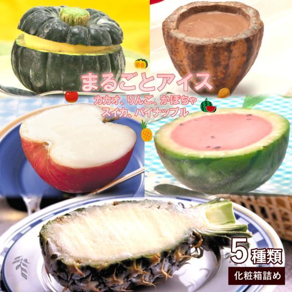 まるごと フルーツ アイス 5個 セット かぼちゃ1個 スイカ1個 りんご1個 パイナップル1個 カカオショコラ1個 冷凍 アイス シャーベット 送料無料 母の日 2021