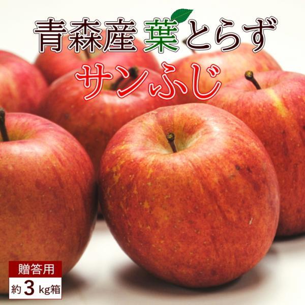送料無料 葉とらず サンふじ 【贈答用】約3kg 10個前後 ※青森産、直送、りんご、リンゴ、林檎、サンふじ