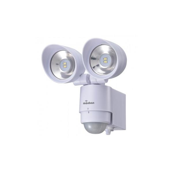OHM オーム電機 monban LEDセンサーライト 乾電池式 2灯 LS-BH22F4-W