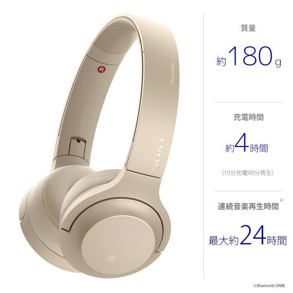 ソニー SONY ワイヤレスヘッドホン h.ear on 2 Mini Wireless WH-H800 : Bluetooth/ハイレゾ対応 最大24時間連続再生 密閉型オンイヤー マイク付き 2017年モデル|tokyo-base|05