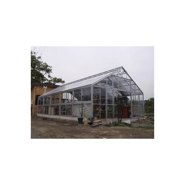 アルミ温室/2段サッシタイプ(K-8タイプ:間口5600×奥行14686×棟高3696mm、24.9坪)4ミリ強化ガラス