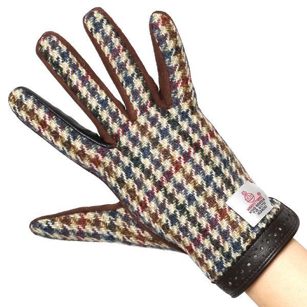 ハリスツイード 手袋 レディース スマホ対応 ベージュ 肌色 女性 レザー かわいい ブランド クロダ|tokyo-himawari|04