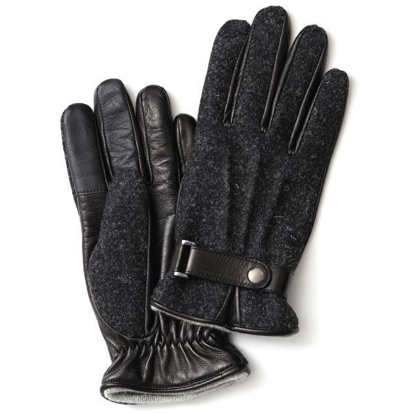 ハリスツイード 手袋 メンズ スマホ対応 カシミヤ グレー グレイ 灰色 ねずみ色 日本製 革 レザー ベルト ブランド|tokyo-himawari