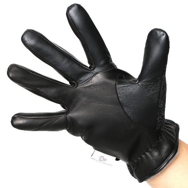 ハリスツイード 手袋 メンズ スマホ対応 カシミヤ グレー グレイ 灰色 ねずみ色 日本製 革 レザー ベルト ブランド|tokyo-himawari|02
