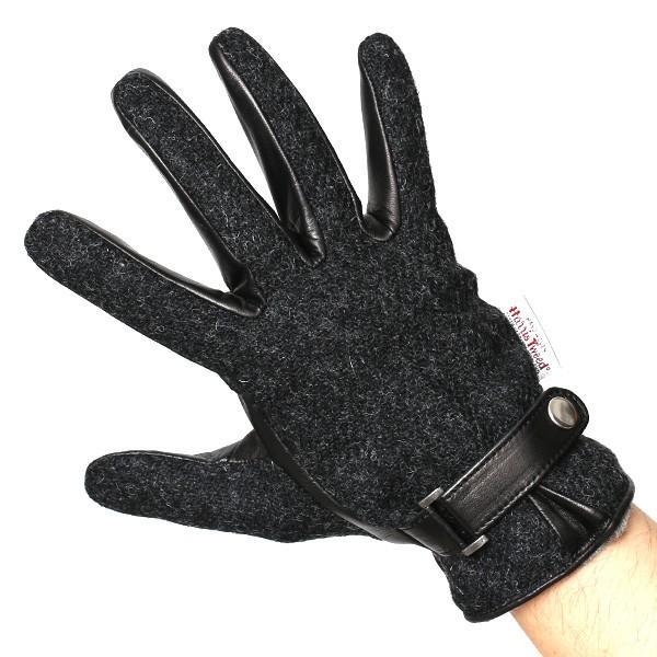 ハリスツイード 手袋 メンズ スマホ対応 カシミヤ グレー グレイ 灰色 ねずみ色 日本製 革 レザー ベルト ブランド|tokyo-himawari|04