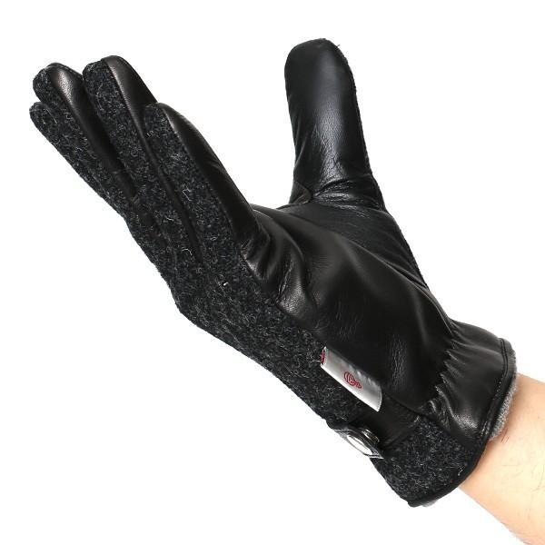 ハリスツイード 手袋 メンズ スマホ対応 カシミヤ グレー グレイ 灰色 ねずみ色 日本製 革 レザー ベルト ブランド|tokyo-himawari|05