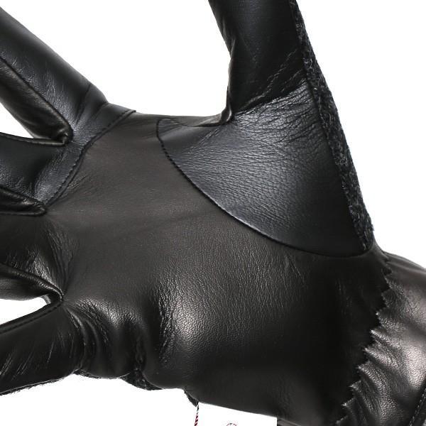 ハリスツイード 手袋 メンズ スマホ対応 カシミヤ グレー グレイ 灰色 ねずみ色 日本製 革 レザー ベルト ブランド|tokyo-himawari|06